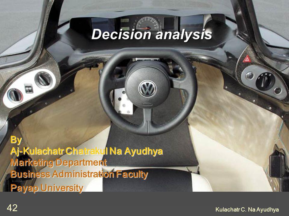 Kulachatr C. Na Ayudhya 42 Decision analysis By Aj-Kulachatr Chatrakul Na Ayudhya Marketing Department Business Administration Faculty Payap Universit