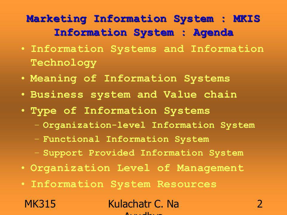 MK315Kulachatr C. Na Ayudhya 2 Marketing Information System : MKIS Information System : Agenda Information Systems and Information Technology Meaning