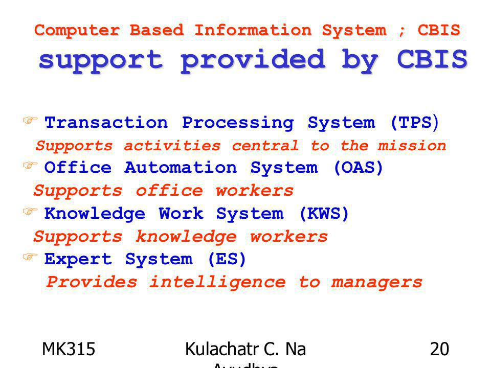 MK315Kulachatr C. Na Ayudhya 20 Computer Based Information System ; CBIS support provided by CBIS F Transaction Processing System (TPS) Supports activ