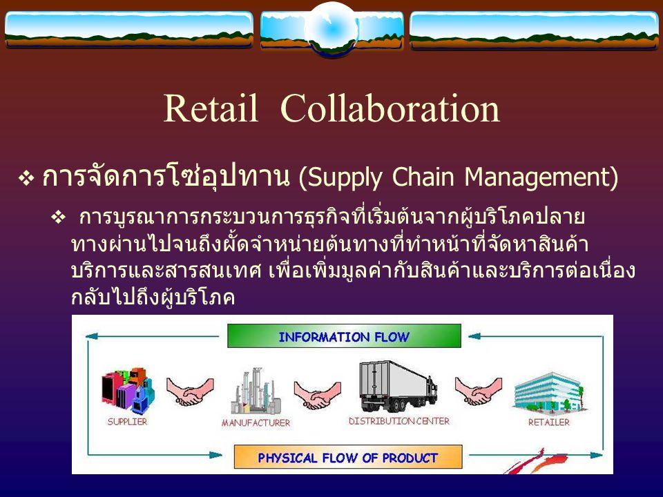 Retail Collaboration  ปัญหาของการจัดการโซ่อุปทานในประเทศไทย  ไม่มีการแลกเปลี่ยนข้อมูลกันระหว่างคู่ค้า  การปฏิบัติงานไม่มีความสอดคล้องกัน  มีการจัดเก็บสินค้าคงคลังเกินความจำเป็น  ผลิตสินค้าไม่ตรงตามจังหวะความต้องการของตลาด  ต่างคนต่างวางแผนกันอิสระ ไม่ขึ้นต่อกัน  การเจรจาเป็นไปในลักษณะเอาชนะซึ่งกันและกัน  มุ่งแต่ประโยชน์ส่วนตน และผลักภาระให้ผู้อื่น  มีต้นทุนโดยรวมสูงขึ้นโดยไม่จำเป็น