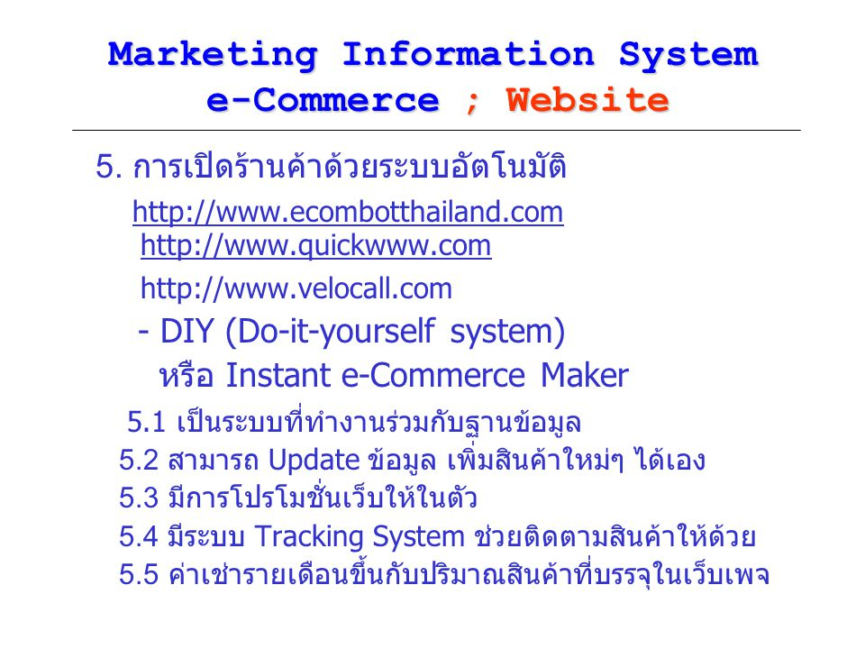 Marketing Information System e-Commerce ; Website 5.
