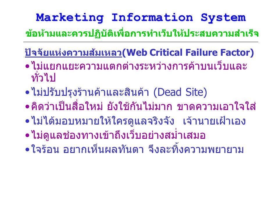 Marketing Information System Marketing Information System ข้อห้ามและควรปฏิบัติเพื่อการทำเว็บให้ประสบความสำเร็จ ปัจจัยแห่งความส้มเหลว(Web Critical Fail