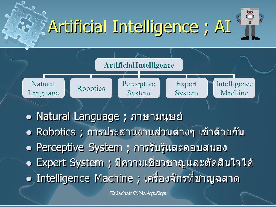 Kulachatr C. Na Ayudhya Artificial Intelligence Natural Language Robotics Perceptive System Expert System Intelligence Machine Natural Language ; ภาษา