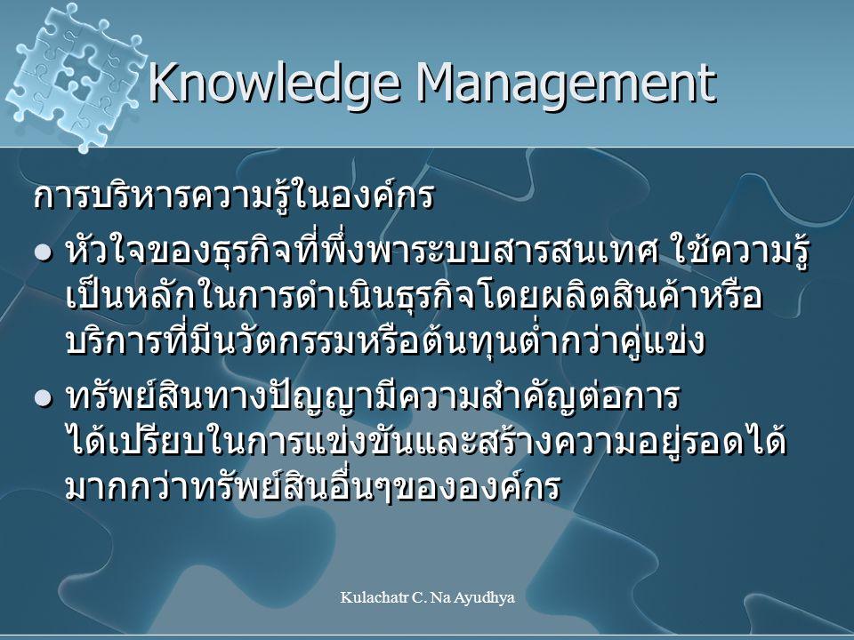 Kulachatr C. Na Ayudhya Knowledge Management การบริหารความรู้ในองค์กร หัวใจของธุรกิจที่พึ่งพาระบบสารสนเทศ ใช้ความรู้ เป็นหลักในการดำเนินธุรกิจโดยผลิตส