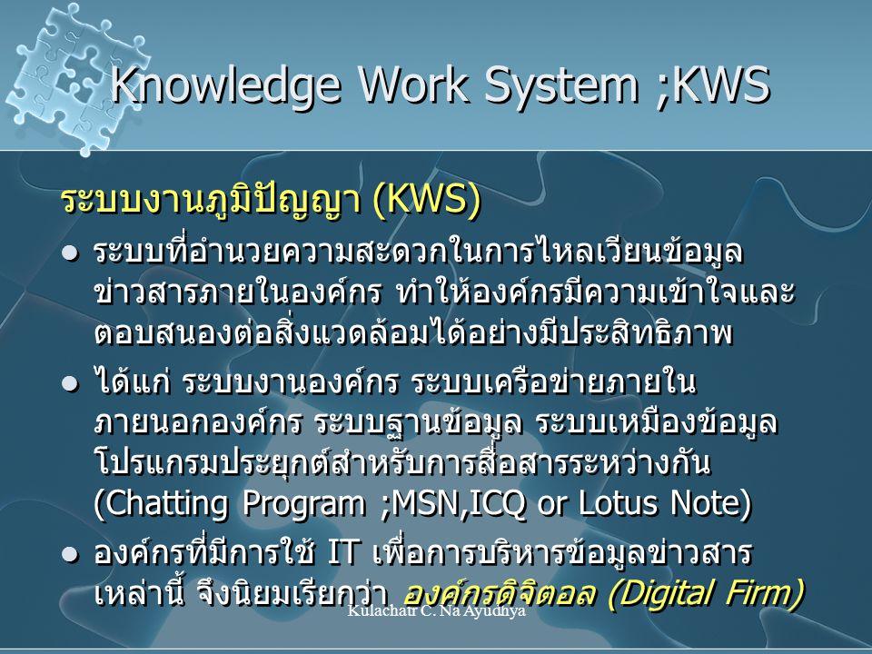 Kulachatr C. Na Ayudhya Knowledge Work System ;KWS ระบบงานภูมิปัญญา (KWS) ระบบที่อำนวยความสะดวกในการไหลเวียนข้อมูล ข่าวสารภายในองค์กร ทำให้องค์กรมีควา