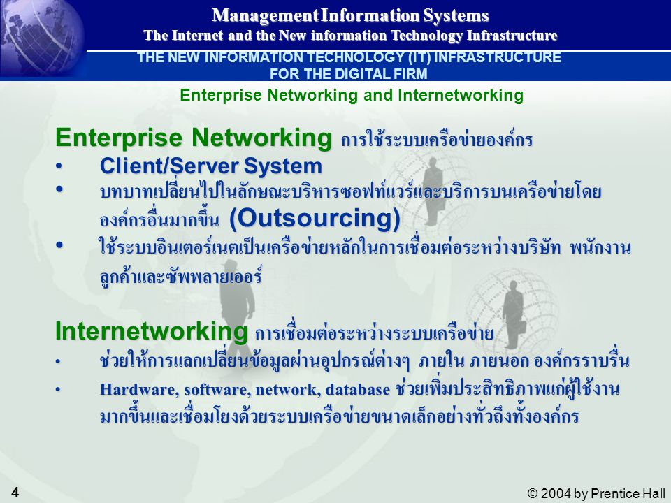 5 © 2004 by Prentice Hall Management Information Systems The Internet and the New information Technology Infrastructure The New Information Technology (IT) Infrastructure Figure 9-1 THE NEW INFORMATION TECHNOLOGY (IT) INFRASTRUCTURE FOR THE DIGITAL FIRM