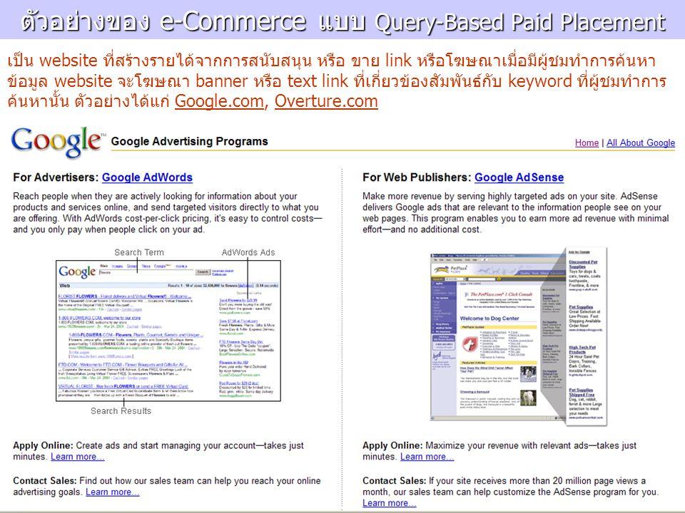 ตัวอย่างของ e-Commerce แบบ Query-Based Paid Placement เป็น website ที่สร้างรายได้จากการสนับสนุน หรือ ขาย link หรือโฆษณาเมื่อมีผู้ชมทำการค้นหา ข้อมูล w