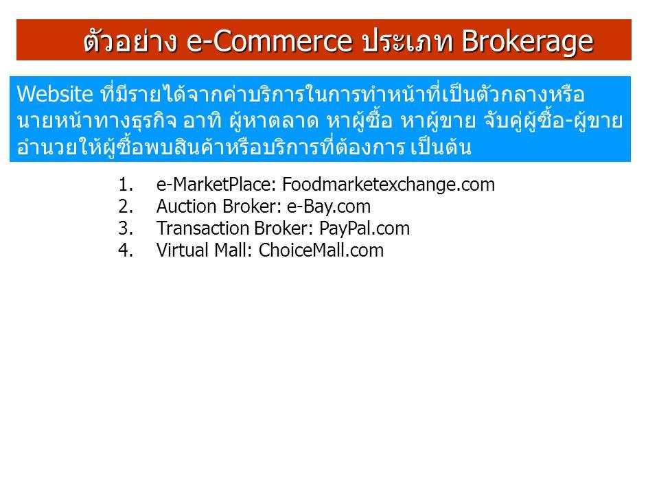 ตัวอย่างของ e-Commerce แบบ Virtual Merchant เรียกอีกชื่อหนึ่งว่า e-tailer เป็น website ของผู้ค้าที่มี website เป็นช่องทางจำหน่ายเดียวของ ธุรกิจ อาศัยอินเตอร์เน็ตในการทำธุรกิจ ตัวอย่างได้แก่ Amazon.com