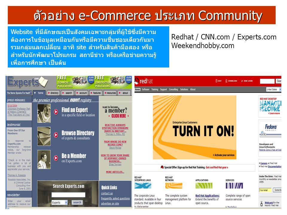 ตัวอย่าง e-Commerce ประเภท Community ตัวอย่าง e-Commerce ประเภท Community Website ที่มีลักษณะเป็นสังคมเฉพาะกลุ่มที่ผู้ใช้ซึ่งมีความ ต้องการในข้อมูลเหม