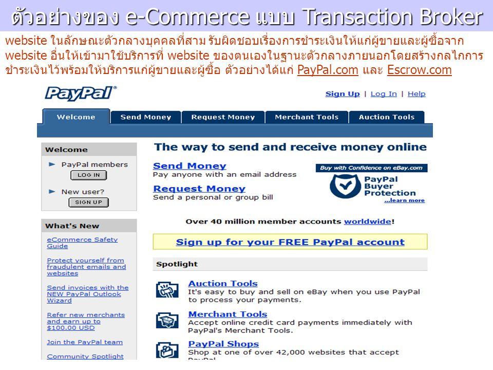 ตัวอย่างของ e-Commerce แบบ Transaction Broker website ในลักษณะตัวกลางบุคคลที่สาม รับผิดชอบเรื่องการชำระเงินให้แก่ผู้ขายและผู้ซื้อจาก website อื่นให้เข