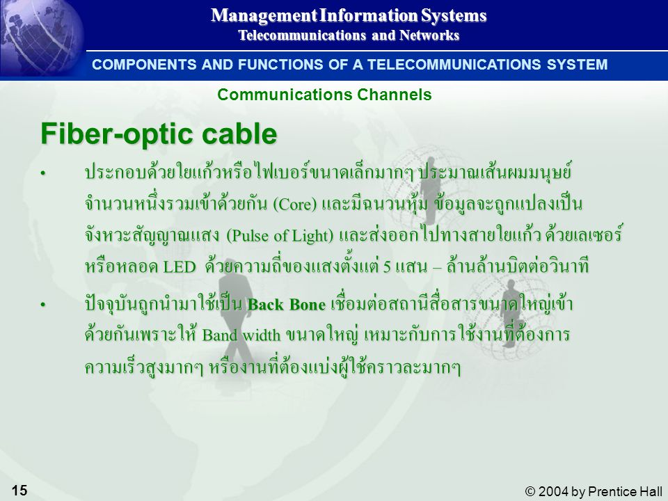 15 © 2004 by Prentice Hall Management Information Systems Telecommunications and Networks COMPONENTS AND FUNCTIONS OF A TELECOMMUNICATIONS SYSTEM Fibe