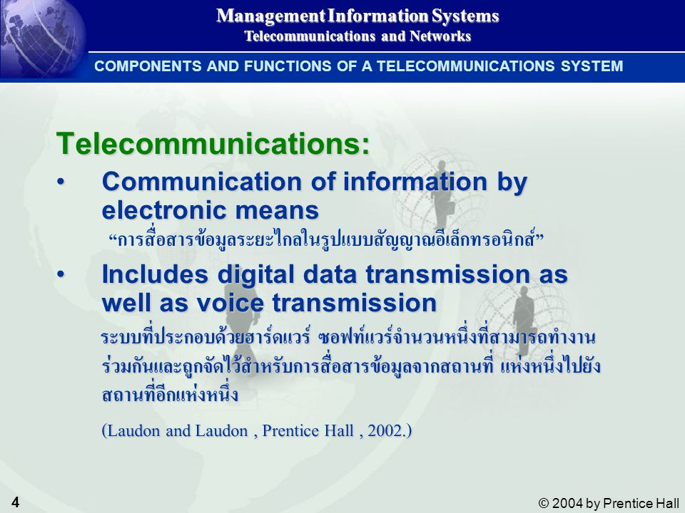 4 © 2004 by Prentice Hall Management Information Systems Telecommunications and Networks COMPONENTS AND FUNCTIONS OF A TELECOMMUNICATIONS SYSTEM Telec