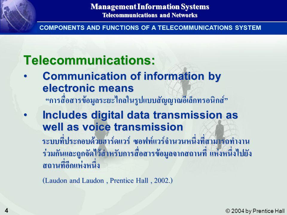 5 © 2004 by Prentice Hall Management Information Systems Telecommunications and Networks COMPONENTS AND FUNCTIONS OF A TELECOMMUNICATIONS SYSTEM คอมพิวเตอร์สำหรับการประมวลผล คอมพิวเตอร์สำหรับการประมวลผล เครื่อง Terminal สำหรับการรับหรือแสดงผลข้อมูล เครื่อง Terminal สำหรับการรับหรือแสดงผลข้อมูล ช่องทางการสื่อสาร หมายถึงอุปกรณ์เชื่อมต่อใดๆ เช่น เคเบิล หรือไร้สาย ช่องทางการสื่อสาร หมายถึงอุปกรณ์เชื่อมต่อใดๆ เช่น เคเบิล หรือไร้สาย อุปกรณ์ประมวลผลการสื่อสาร เช่น โมเด็ม (MODEM), มัลติเพล็กเซอร์, คอนโทรลเลอร์, ฟร้อนทเอ็นด์โปรเซสเซอร์ อุปกรณ์ประมวลผลการสื่อสาร เช่น โมเด็ม (MODEM), มัลติเพล็กเซอร์, คอนโทรลเลอร์, ฟร้อนทเอ็นด์โปรเซสเซอร์ ซอฟท์แวร์สำหรับใช้สื่อสาร ใช้ควบคุมการส่งออกและรับเข้าข้อมูล ซอฟท์แวร์สำหรับใช้สื่อสาร ใช้ควบคุมการส่งออกและรับเข้าข้อมูล องค์ประกอบของระบบโทรคมนาคม