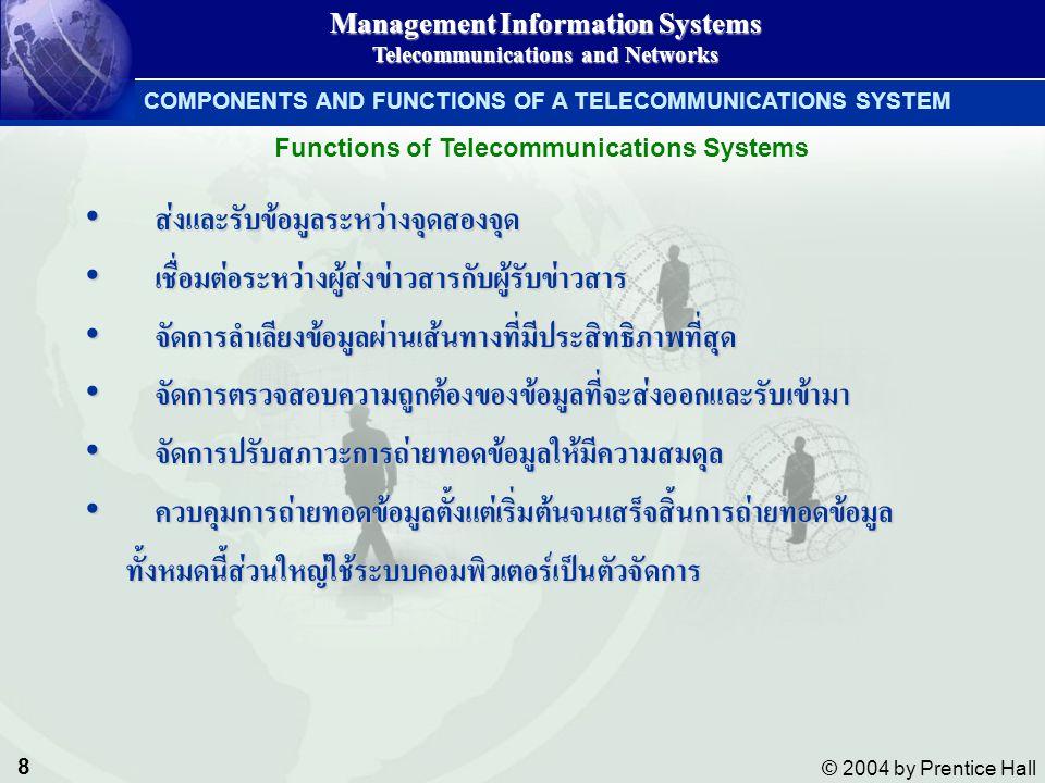 9 © 2004 by Prentice Hall Management Information Systems Telecommunications and Networks COMPONENTS AND FUNCTIONS OF A TELECOMMUNICATIONS SYSTEM อุปกรณ์ต่างชนิดกันจะสามารถสื่อสารแลกเปลี่ยนข้อมูลระหว่างกันได้โดย ใช้ชุดคำสั่งมาตรฐานชุดเดียวกัน กฎเกณฑ์มาตรฐานในการสื่อสารนี้ เรียกว่า โปรโตคอล (Protocol) อุปกรณ์ต่างชนิดกันจะสามารถสื่อสารแลกเปลี่ยนข้อมูลระหว่างกันได้โดย ใช้ชุดคำสั่งมาตรฐานชุดเดียวกัน กฎเกณฑ์มาตรฐานในการสื่อสารนี้ เรียกว่า โปรโตคอล (Protocol) อุปกรณ์แต่ละชนิดในระบบเครือข่ายเดียวกันจะรู้จักกันได้ก็ต่อเมื่อใช้ โปรโตคอลอย่างเดียวกัน อุปกรณ์แต่ละชนิดในระบบเครือข่ายเดียวกันจะรู้จักกันได้ก็ต่อเมื่อใช้ โปรโตคอลอย่างเดียวกัน Protocol ที่รู้จักกัน เช่น TCP/IP ในระบบอินเตอร์เนตProtocol ที่รู้จักกัน เช่น TCP/IP ในระบบอินเตอร์เนต Protocols