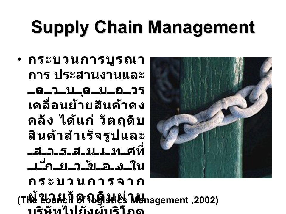 Supply Chain Management กระบวนการบูรณา การ ประสานงานและ ควบคุมการ เคลื่อนย้ายสินค้าคง คลัง ได้แก่ วัตถุดิบ สินค้าสำเร็จรูปและ สารสนเทศที่ เกี่ยวข้องใน