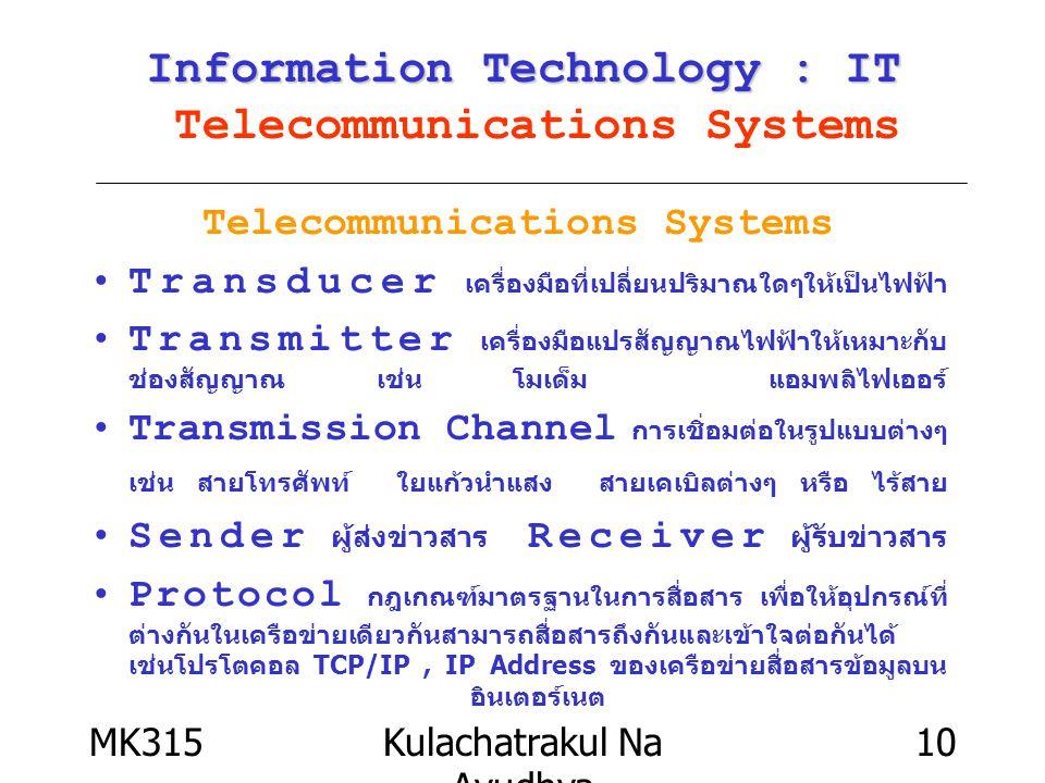MK315Kulachatrakul Na Ayudhya 10 Information Technology : IT Information Technology : IT Telecommunications Systems Telecommunications Systems Transdu