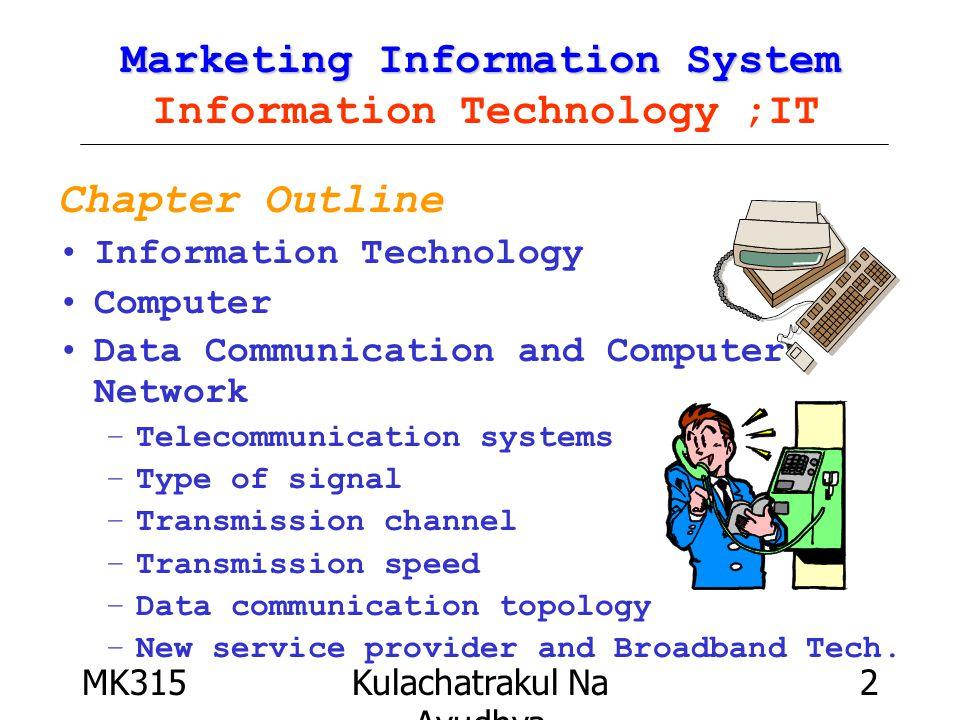 MK315Kulachatrakul Na Ayudhya 13 Information Technology : IT Transmission Channel : Wireless Communication Global area networks Local area networks