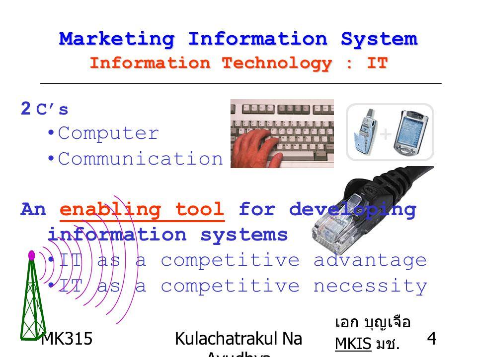 MK315Kulachatrakul Na Ayudhya 15 Information Technology : IT Transmission Channel :microwave –Remote distance :island,forest, suburb