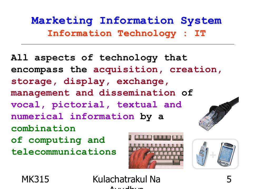 MK315Kulachatrakul Na Ayudhya 6 Information Technology : IT Information Technology : IT Computer Hardware CPU Central Processing Unit Main Memory Output Unit Secondary Storage Unit เ อก บุญเจือ MKIS มช.