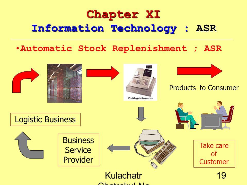Kulachatr Chatrakul Na Ayudhaya 18 Chapter XI Information Technology : ECR Efficient Consumer Response ; ECR Efficiency in response the products featuring that delivery to the right place, to the right time and the right price such as the electronic purchasing, electronic payment or automatic interaction การให้บริการตอบสนองความต้องการแก่ลูกค้าอย่างมี ประสิทธิภาพ ในแง่ของลักษณะสินค้า สถานที่จำหน่าย ระบบ จัดส่ง ระดับราคา โดยมีเทคโนโลยีที่สามารถตอบสนองได้อย่าง รวดเร็ว เช่น ระบบคำสั่งซื้อสินค้าอัตโนมัติ ระบบชำระเงินอีเลคท รอนิคส์ ระบบโต้ตอบอัตโนมัติ