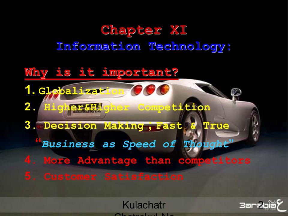 Kulachatr Chatrakul Na Ayudhaya 2 Chapter XI Information Technology: Why is it important.