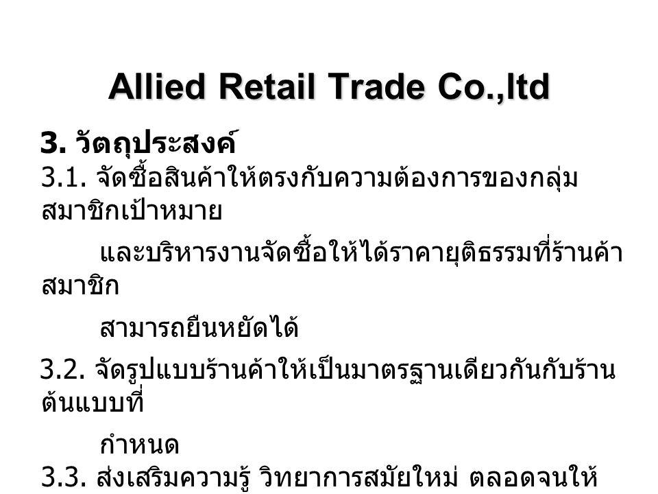 Allied Retail Trade Co.,ltd 3. วัตถุประสงค์ 3.1. จัดซื้อสินค้าให้ตรงกับความต้องการของกลุ่ม สมาชิกเป้าหมาย และบริหารงานจัดซื้อให้ได้ราคายุติธรรมที่ร้าน