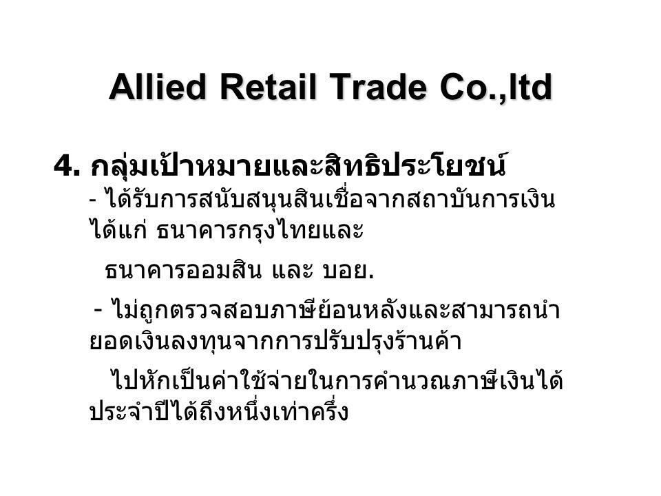 Allied Retail Trade Co.,ltd 6.แผนปฏิบัติการสามปี ( รายปี ) แผนปฏิบัติการปีที่ 1 1.