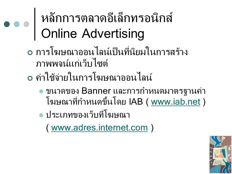 หลักการตลาดอีเล็กทรอนิกส์ Online Advertising การโฆษณาออนไลน์เป็นที่นิยมในการสร้าง ภาพพจน์แก่เว็บไซต์ ค่าใช้จ่ายในการโฆษณาออนไลน์ ขนาดของ Banner และการกำหนดมาตรฐานค่า โฆษณาที่กำหนดขึ้นโดย IAB ( www.iab.net )www.iab.net ประเภทของเว็บที่โฆษณา ( www.adres.internet.com )www.adres.internet.com
