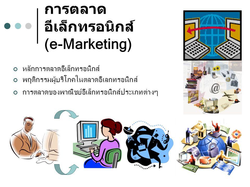 การตลาด อีเล็กทรอนิกส์ (e-Marketing) หลักการตลาดอีเล็กทรอนิกส์ พฤติกรรมผู้บริโภคในตลาดอีเลกทรอนิกส์ การตลาดของพาณิชย์อีเล็กทรอนิกส์ประเภทต่างๆ