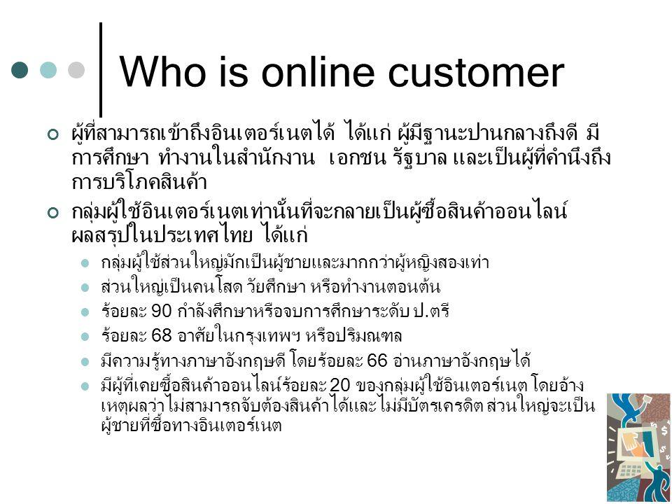 Who is online customer ผู้ที่สามารถเข้าถึงอินเตอร์เนตได้ ได้แก่ ผู้มีฐานะปานกลางถึงดี มี การศึกษา ทำงานในสำนักงาน เอกชน รัฐบาล และเป็นผู้ที่คำนึงถึง การบริโภคสินค้า กลุ่มผู้ใช้อินเตอร์เนตเท่านั้นที่จะกลายเป็นผู้ซื้อสินค้าออนไลน์ ผลสรุปในประเทศไทย ได้แก่ กลุ่มผู้ใช้ส่วนใหญ่มักเป็นผู้ชายและมากกว่าผู้หญิงสองเท่า ส่วนใหญ่เป็นคนโสด วัยศึกษา หรือทำงานตอนต้น ร้อยละ 90 กำลังศึกษาหรือจบการศึกษาระดับ ป.ตรี ร้อยละ 68 อาศัยในกรุงเทพฯ หรือปริมณฑล มีความรู้ทางภาษาอังกฤษดี โดยร้อยละ 66 อ่านภาษาอังกฤษได้ มีผู้ที่เคยซื้อสินค้าออนไลน์ร้อยละ 20 ของกลุ่มผู้ใช้อินเตอร์เนต โดยอ้าง เหตุผลว่าไม่สามารถจับต้องสินค้าได้และไม่มีบัตรเครดิต ส่วนใหญ่จะเป็น ผู้ชายที่ซื้อทางอินเตอร์เนต