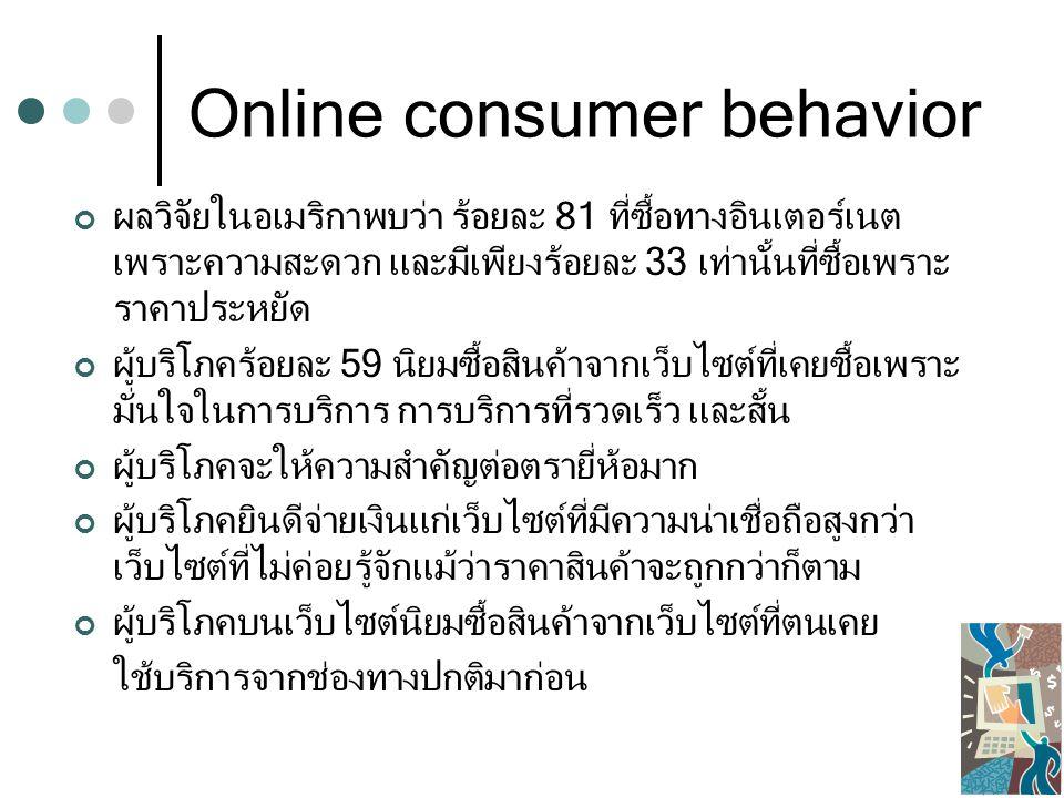 Online consumer behavior ผลวิจัยในอเมริกาพบว่า ร้อยละ 81 ที่ซื้อทางอินเตอร์เนต เพราะความสะดวก และมีเพียงร้อยละ 33 เท่านั้นที่ซื้อเพราะ ราคาประหยัด ผู้บริโภคร้อยละ 59 นิยมซื้อสินค้าจากเว็บไซต์ที่เคยซื้อเพราะ มั่นใจในการบริการ การบริการที่รวดเร็ว และสั้น ผู้บริโภคจะให้ความสำคัญต่อตรายี่ห้อมาก ผู้บริโภคยินดีจ่ายเงินแก่เว็บไซต์ที่มีความน่าเชื่อถือสูงกว่า เว็บไซต์ที่ไม่ค่อยรู้จักแม้ว่าราคาสินค้าจะถูกกว่าก็ตาม ผู้บริโภคบนเว็บไซต์นิยมซื้อสินค้าจากเว็บไซต์ที่ตนเคย ใช้บริการจากช่องทางปกติมาก่อน