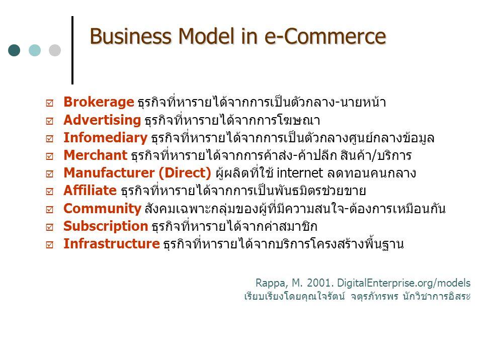 Business Model in e-Commerce  Brokerage ธุรกิจที่หารายได้จากการเป็นตัวกลาง-นายหน้า  Advertising ธุรกิจที่หารายได้จากการโฆษณา  Infomediary ธุรกิจที่หารายได้จากการเป็นตัวกลางศูนย์กลางข้อมูล  Merchant ธุรกิจที่หารายได้จากการค้าส่ง-ค้าปลีก สินค้า/บริการ  Manufacturer (Direct) ผู้ผลิตที่ใช้ internet ลดทอนคนกลาง  Affiliate ธุรกิจที่หารายได้จากการเป็นพันธมิตรช่วยขาย  Community สังคมเฉพาะกลุ่มของผู้ที่มีความสนใจ-ต้องการเหมือนกัน  Subscription ธุรกิจที่หารายได้จากค่าสมาชิก  Infrastructure ธุรกิจที่หารายได้จากบริการโครงสร้างพื้นฐาน Rappa, M.