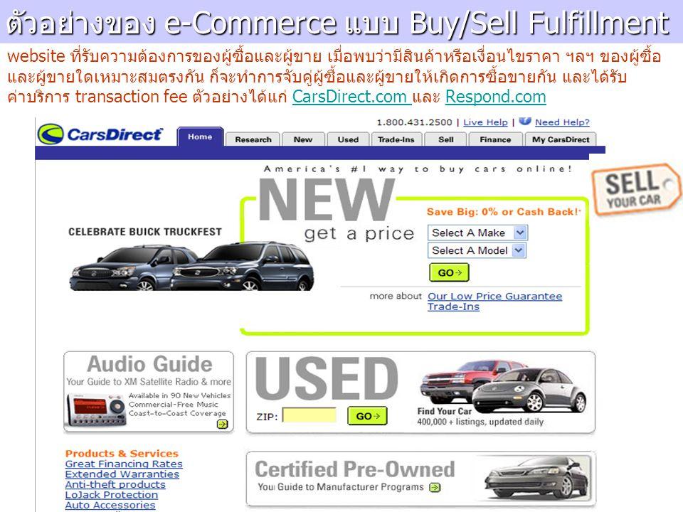 ตัวอย่างของ e-Commerce แบบ Buy/Sell Fulfillment website ที่รับความต้องการของผู้ซื้อและผู้ขาย เมื่อพบว่ามีสินค้าหรือเงื่อนไขราคา ฯลฯ ของผู้ซื้อ และผู้ขายใดเหมาะสมตรงกัน ก็จะทำการจับคู่ผู้ซื้อและผู้ขายให้เกิดการซื้อขายกัน และได้รับ ค่าบริการ transaction fee ตัวอย่างได้แก่ CarsDirect.com และ Respond.comCarsDirect.com Respond.com