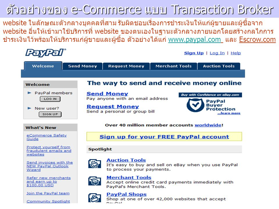 ตัวอย่างของ e-Commerce แบบ Transaction Broker website ในลักษณะตัวกลางบุคคลที่สาม รับผิดชอบเรื่องการชำระเงินให้แก่ผู้ขายและผู้ซื้อจาก website อื่นให้เข้ามาใช้บริการที่ website ของตนเองในฐานะตัวกลางภายนอกโดยสร้างกลไกการ ชำระเงินไว้พร้อมให้บริการแก่ผู้ขายและผู้ซื้อ ตัวอย่างได้แก่ www.paypal.com และ Escrow.comwww.paypal.com