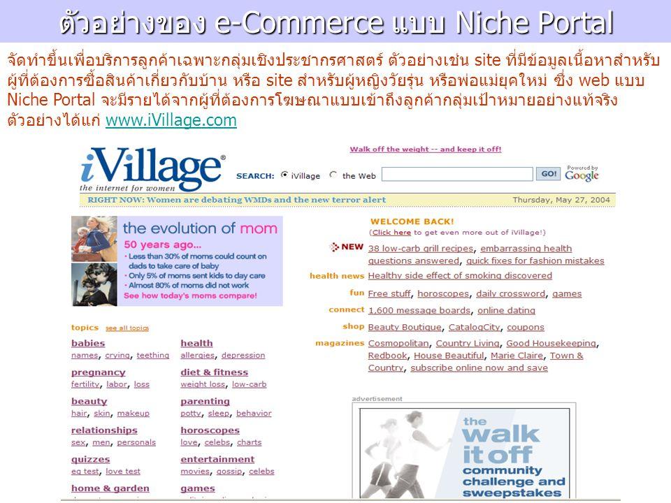 ตัวอย่างของ e-Commerce แบบ Niche Portal จัดทำขึ้นเพื่อบริการลูกค้าเฉพาะกลุ่มเชิงประชากรศาสตร์ ตัวอย่างเช่น site ที่มีข้อมูลเนื้อหาสำหรับ ผู้ที่ต้องการซื้อสินค้าเกี่ยวกับบ้าน หรือ site สำหรับผู้หญิงวัยรุ่น หรือพ่อแม่ยุคใหม่ ซึ่ง web แบบ Niche Portal จะมีรายได้จากผู้ที่ต้องการโฆษณาแบบเข้าถึงลูกค้ากลุ่มเป้าหมายอย่างแท้จริง ตัวอย่างได้แก่ www.iVillage.comwww.iVillage.com