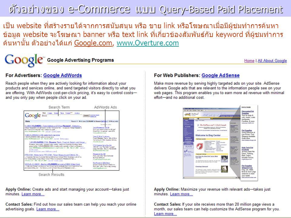ตัวอย่างของ e-Commerce แบบ Query-Based Paid Placement เป็น website ที่สร้างรายได้จากการสนับสนุน หรือ ขาย link หรือโฆษณาเมื่อมีผู้ชมทำการค้นหา ข้อมูล website จะโฆษณา banner หรือ text link ที่เกี่ยวข้องสัมพันธ์กับ keyword ที่ผู้ชมทำการ ค้นหานั้น ตัวอย่างได้แก่ Google.com, www.Overture.comwww.Overture.com