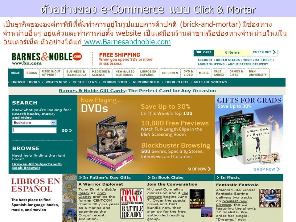 ตัวอย่างของ e-Commerce แบบ Click & Mortar เป็นธุรกิจขององค์กรที่มีที่ตั้งทำการอยู่ในรูปแบบการค้าปกติ (brick-and-mortar) มีช่องทาง จำหน่ายอื่นๆ อยู่แล้วและทำการก่อตั้ง website เป็นเสมือนร้านสาขาหรือช่องทางจำหน่ายใหม่ใน อินเตอร์เน็ต ตัวอย่างได้แก่ www.Barnesandnoble.comwww.Barnesandnoble.com