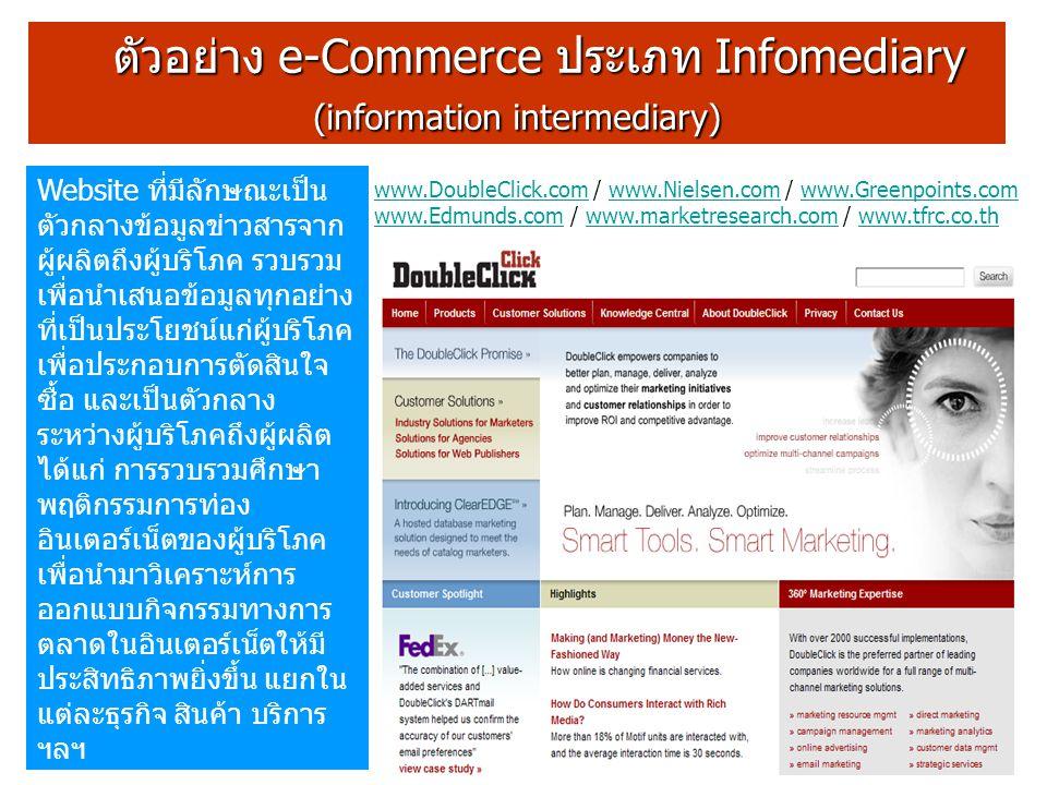 ตัวอย่าง e-Commerce ประเภท Infomediary ตัวอย่าง e-Commerce ประเภท Infomediary (information intermediary) Website ที่มีลักษณะเป็น ตัวกลางข้อมูลข่าวสารจาก ผู้ผลิตถึงผู้บริโภค รวบรวม เพื่อนำเสนอข้อมูลทุกอย่าง ที่เป็นประโยชน์แก่ผู้บริโภค เพื่อประกอบการตัดสินใจ ซื้อ และเป็นตัวกลาง ระหว่างผู้บริโภคถึงผู้ผลิต ได้แก่ การรวบรวมศึกษา พฤติกรรมการท่อง อินเตอร์เน็ตของผู้บริโภค เพื่อนำมาวิเคราะห์การ ออกแบบกิจกรรมทางการ ตลาดในอินเตอร์เน็ตให้มี ประสิทธิภาพยิ่งขึ้น แยกใน แต่ละธุรกิจ สินค้า บริการ ฯลฯ www.DoubleClick.comwww.DoubleClick.com / www.Nielsen.com / www.Greenpoints.com www.Edmunds.com / www.marketresearch.com / www.tfrc.co.thwww.Nielsen.comwww.Greenpoints.com www.Edmunds.comwww.marketresearch.comwww.tfrc.co.th