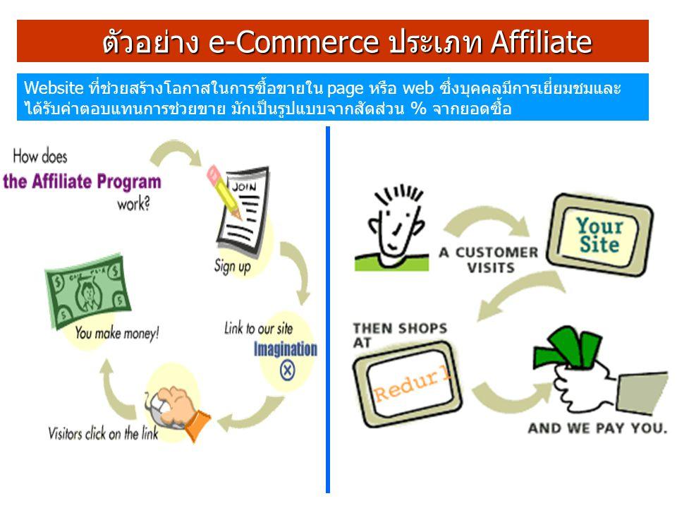 ตัวอย่าง e-Commerce ประเภท Affiliate ตัวอย่าง e-Commerce ประเภท Affiliate Website ที่ช่วยสร้างโอกาสในการซื้อขายใน page หรือ web ซึ่งบุคคลมีการเยี่ยมชมและ ได้รับค่าตอบแทนการช่วยขาย มักเป็นรูปแบบจากสัดส่วน % จากยอดซื้อ