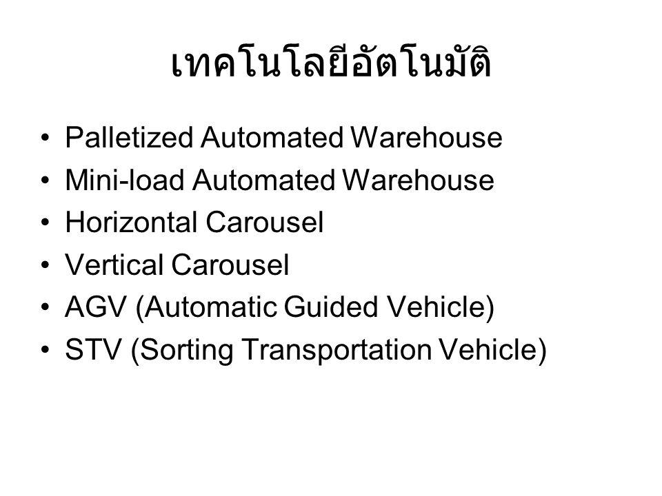 เทคโนโลยีอัตโนมัติ Palletized Automated Warehouse Mini-load Automated Warehouse Horizontal Carousel Vertical Carousel AGV (Automatic Guided Vehicle) S