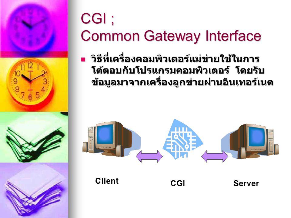 CGI ; Common Gateway Interface CGI สามารถเรียกใช้โปรแกรมบน เครื่องคอมพิวเตอร์แม่ข่ายได้ และ สามารถส่งข้อมูลจากลูกข่ายเข้าไป ประมวลผลในเครื่องแม่ข่ายแล้วส่ง ค่าที่คำนวณเสร็จกลับมาแสดงผล ในลูกข่ายได้ เช่น CGI สามารถเรียกใช้โปรแกรมบน เครื่องคอมพิวเตอร์แม่ข่ายได้ และ สามารถส่งข้อมูลจากลูกข่ายเข้าไป ประมวลผลในเครื่องแม่ข่ายแล้วส่ง ค่าที่คำนวณเสร็จกลับมาแสดงผล ในลูกข่ายได้ เช่น ข้อมูลคำสั่งซื้อ และระบบตะกร้าเงิน ข้อมูลคำสั่งซื้อ และระบบตะกร้าเงิน คำสั่งค้นหารายการสินค้า คำสั่งค้นหารายการสินค้า ข้อมูลแสดงผลการชำระเงิน ข้อมูลแสดงผลการชำระเงิน โปรแกรมนับจำนวนคนเยี่ยมชม เว็บไซต์ (Hit Rate) โปรแกรมนับจำนวนคนเยี่ยมชม เว็บไซต์ (Hit Rate)
