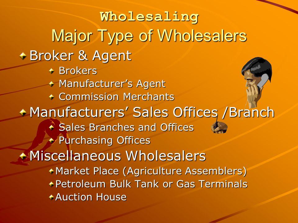 Wholesaling Major Type of Wholesalers Broker & Agent Brokers Brokers Manufacturer's Agent Manufacturer's Agent Commission Merchants Commission Merchan