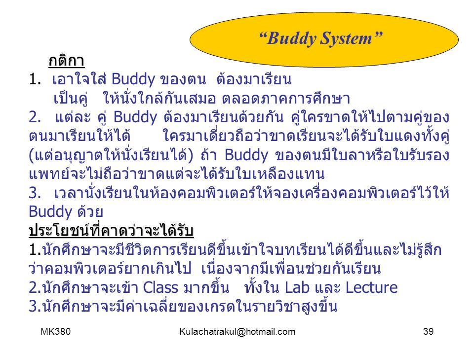 "MK380Kulachatrakul@hotmail.com39 ""Buddy System"" กติกา 1. เอาใจใส่ Buddy ของตน ต้องมาเรียน เป็นคู่ ให้นั่งใกล้กันเสมอ ตลอดภาคการศึกษา 2. แต่ละ คู่ Budd"