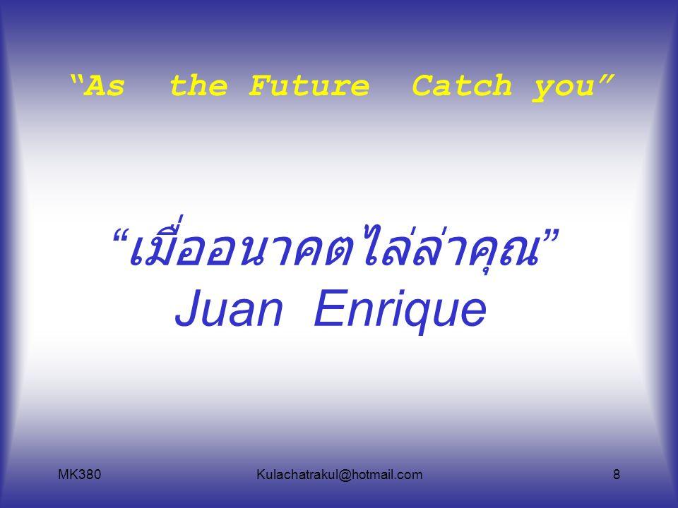 "MK380Kulachatrakul@hotmail.com8 "" เมื่ออนาคตไล่ล่าคุณ "" Juan Enrique "" As the Future Catch you """
