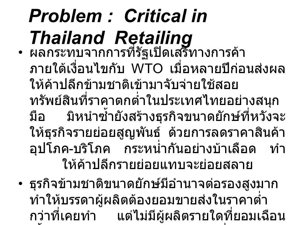 Problem : Critical in Thailand Retailing ผลกระทบจากการที่รัฐเปิดเสรีทางการค้า ภายใต้เงื่อนไขกับ WTO เมื่อหลายปีก่อนส่งผล ให้ค้าปลีกข้ามชาติเข้ามาจับจ่