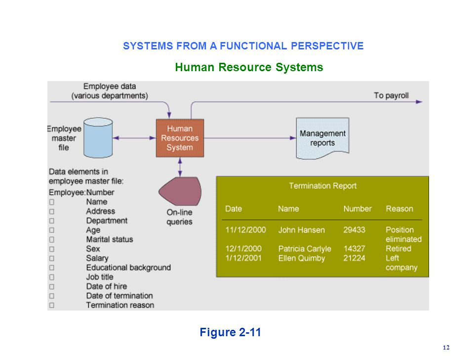 12 Figure 2-11 Human Resource Systems SYSTEMS FROM A FUNCTIONAL PERSPECTIVE