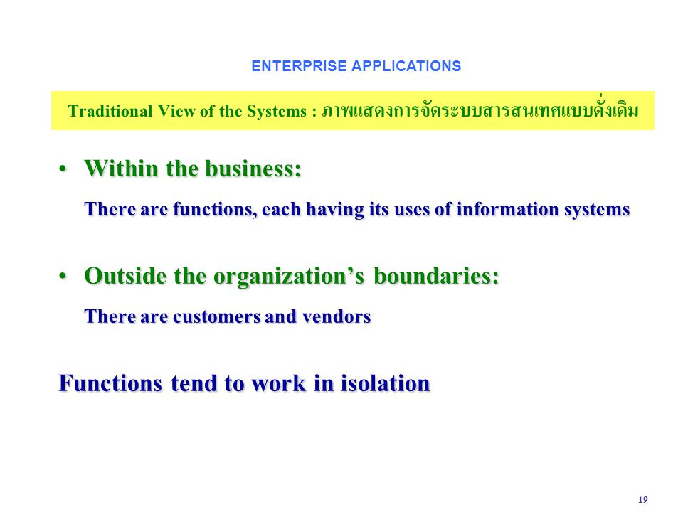 19 Within the business: There are functions, each having its uses of information systems Within the business: There are functions, each having its use