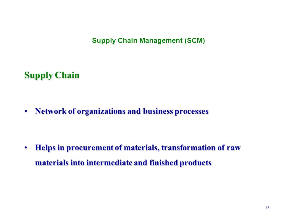 25 Supply Chain Network of organizations and business processes Network of organizations and business processes Helps in procurement of materials, tra