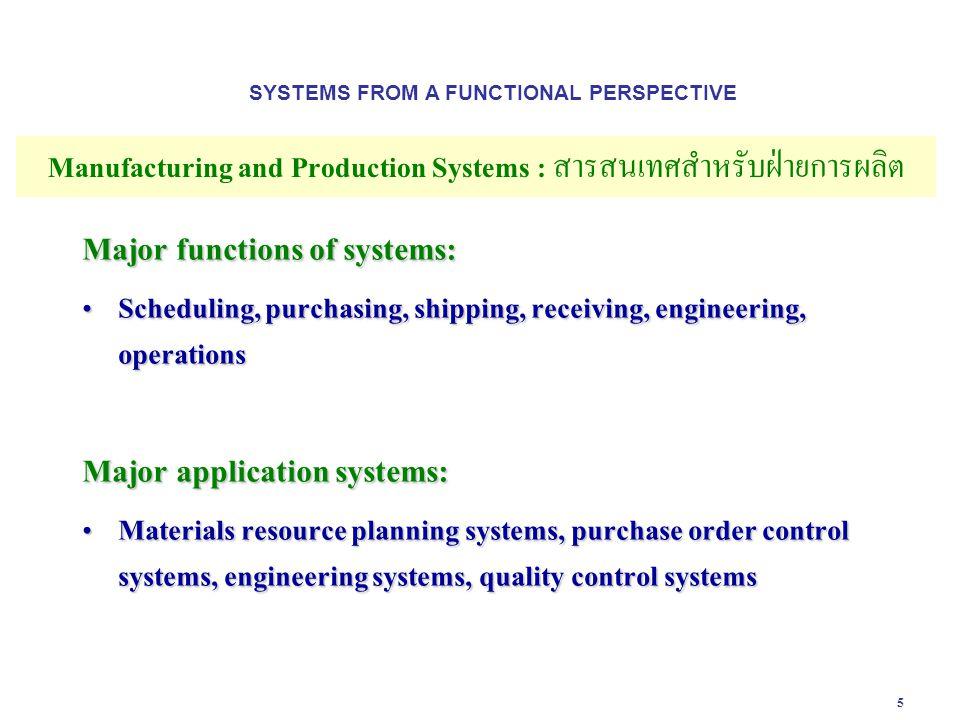 6 Table 2-3 Manufacturing and Production Systems : สารสนเทศสำหรับฝ่ายการผลิต