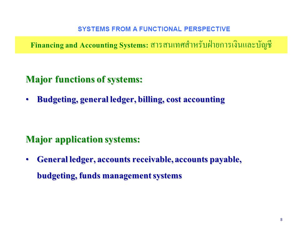 8 Major functions of systems: Budgeting, general ledger, billing, cost accounting Budgeting, general ledger, billing, cost accounting Major applicatio